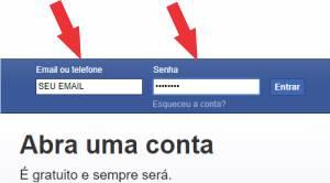 Login da conta perfil do Facebook